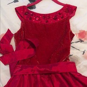 American girls Christmas dress red